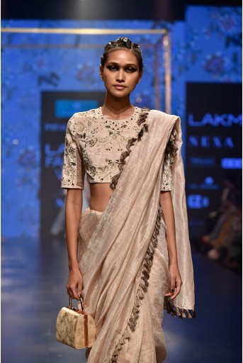 PS-FW552 Latifa Stone Velvet Choli with Chanderi Stripe Saree and Velvet Petticoat
