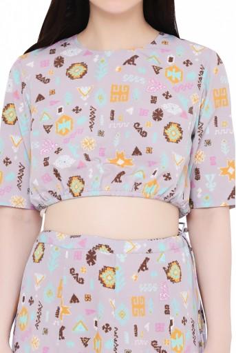 PS-FW615-EE  Lavender Colour Printed Art Crepe Skirt Set
