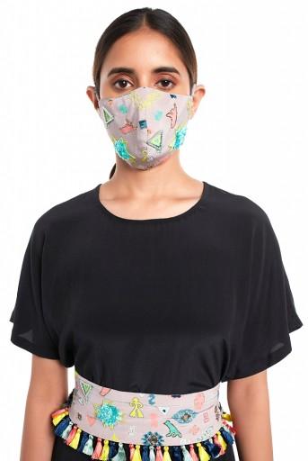 PS-MS0054  Lavender Lime Bandhani Kilim Print Crepe Embroidered Mask