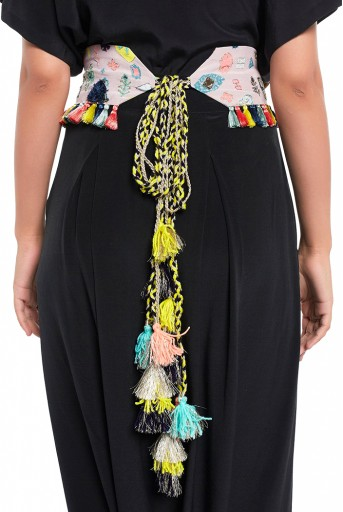 PS-BL010  Lavender Lime Bandhani Kilim Print Crepe Embroidered Tie-up Belt with Colourful Tassels
