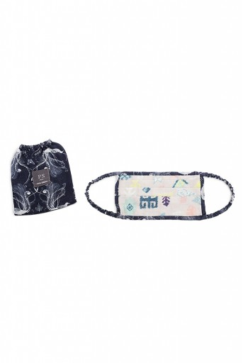 PS-MS0031  PS Men Lavender Lime Bandhini Kilim and Navy Jannat Print Pleated 3 Ply Mask with Pouch for Men