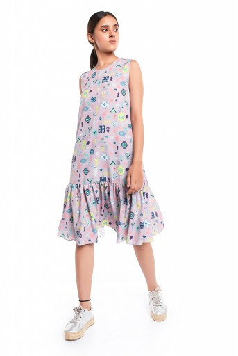 PS-TUA0027-B  Lavender Lime Colour Printed Art Crepe Sleeveless Frill Hem Tunic