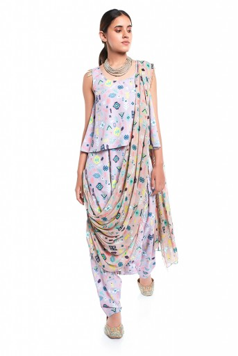 PS-ST1367-R  Lavender Lime Colour Printed Art Crepe Top and Low Crotch pant with Attached Art Georgette Drape Dupatta
