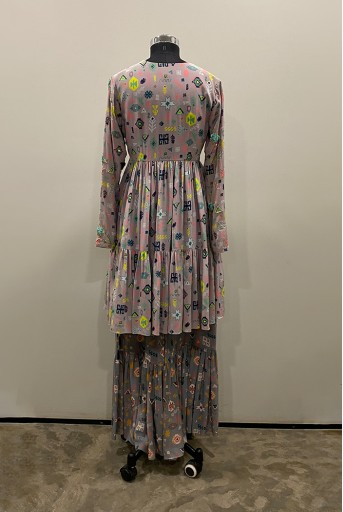 PS-KP0034-B-1  Lavender Lime Colour Printed Crepe Tiered Kurta with Grey Colour Printed Frill Palazzo