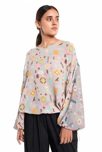 PS-TP0036-E  Lavender Orange and Grey Colour Printed Georgette Top with Drawstring Details