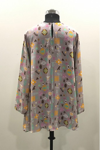 PS-TU1494/D/1  Lavender Orange Colour Printed Crepe Tunic