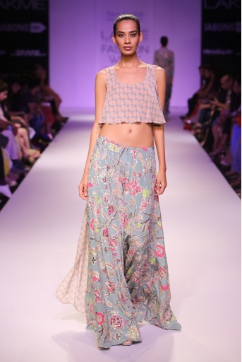 PS-FW269 Leela Blush and Blue Printed High Low Top with Printed Sharara Pant
