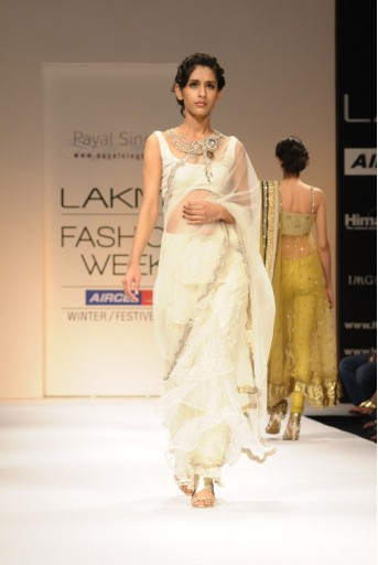 PS-FW116 Lemon Yellow Mukaish Saree with choli