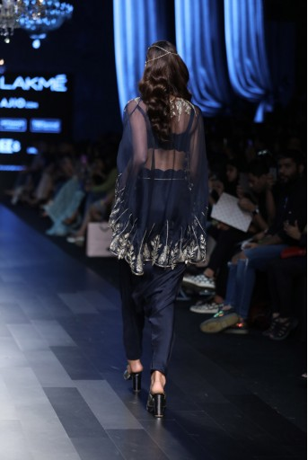 PS-FW424 Leyla Navy Silk Bustier and low Crotch pant with Organza Cape