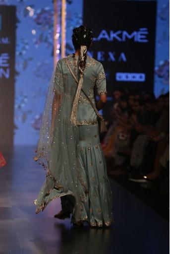 PS-FW553 Liana Periwinkle Blue Silk Kurta with Sharara and mukaish Net Dupatta