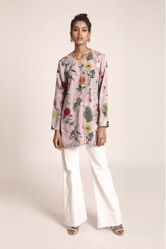 PS-TUA0045  Lilac Colour Printed Art Crepe Tunic