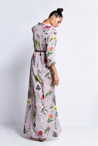 PS-TU0564 Lilac Printed Crepe Shirt Dress