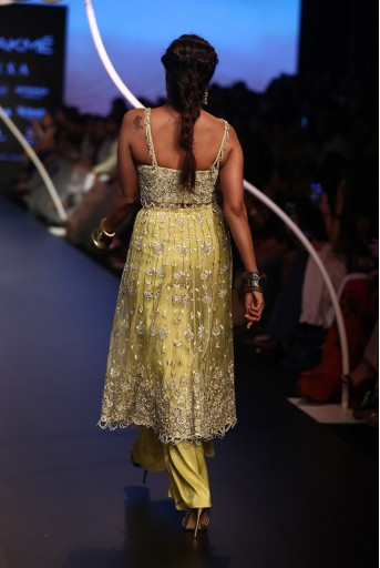 PS-FW534-1   Lime Green Colour Silk Choli and Organza Skirt with Attached Silk Palazzo