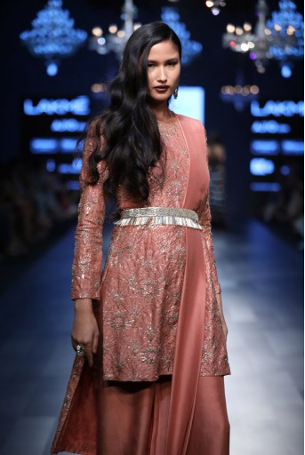 PS-FW431 Lina Coral Silk High Low Kurta with Palazzo and Dupatta with Tassels and Waist Belt