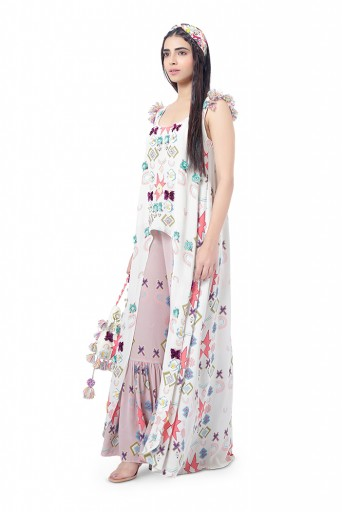 PS-FW736  Maahi White Printed Crepe High-Low Kurta with Pink Print Crepe Frill Palazzo