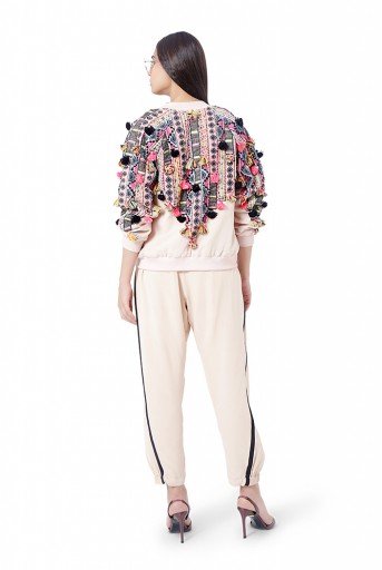PS-FW760  Mahah Stone Colour Georgette Embroidered Bomber Jacket with Jogger Pant and Black Georgette Embroidered Bustier