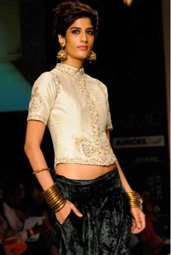 PS-FW182 Mahal Ecru Silk Choli with Green Velvet Harem Pant