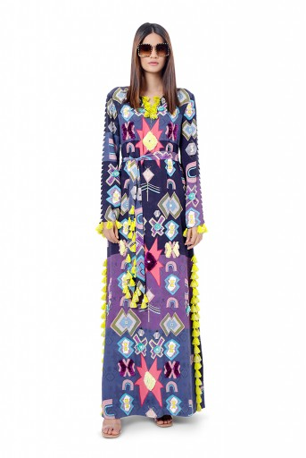 PS-FW743  Maham Purple Printed Crepe Embroidered High-Slit Kaftaan
