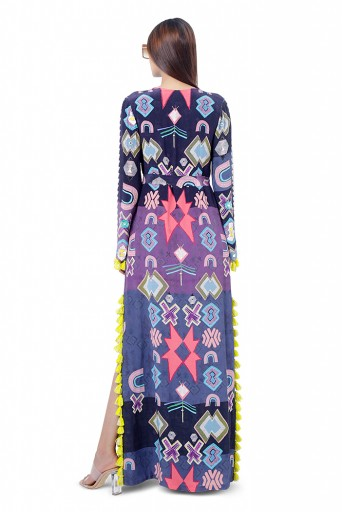 PS-FW743  Maham Purple Printed Crepe Embroidered High-Slit Kaftaan