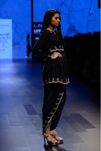 PS-FW412 Maheen Black silk Kurta with Petal Pant