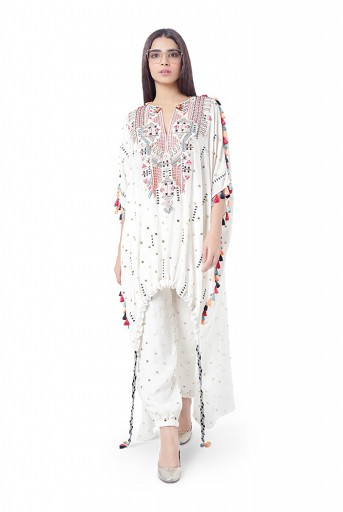 PS-FW761  Maliha Chalk White Colour Dot Mukaish Silk Embroidered High-Low Kaftaan with Jogger Pant