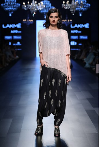 PS-FW450 Maliya Blush Mukaish Georgette Tunic with Black Silk Bustier and Low Crotch Pant