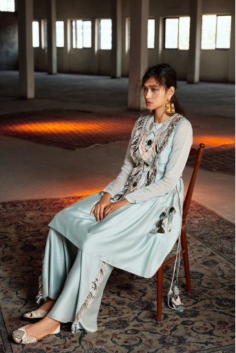 PS-FW694 Manizeh Pale Blue Silkmul Kurta and Palazzo