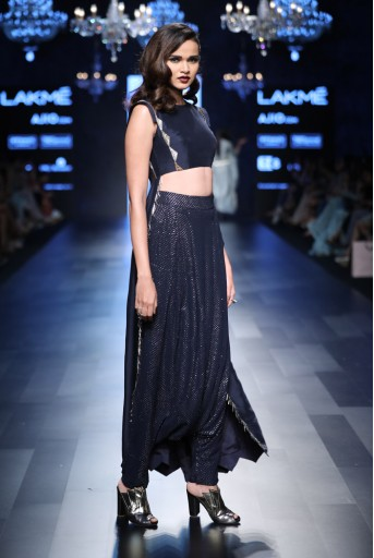 PS-FW452 Mara Navy Silk Cropped Anarkali with Mukaish Georgette Low Crotch Pant