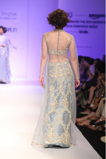 PS-FW335 Marie Dupion Silk Bustier and Skirt with Mukaish Net Overerlay Kurta