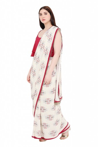 PS-ST1207-K  Maroon Colour Crepe Top with White Printed Georgette Saree
