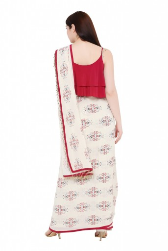 PS-ST1207-K-1  Maroon Colour Crepe Top with White Printed Georgette Saree