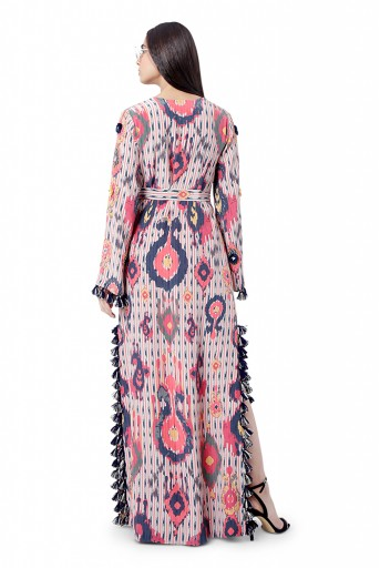 PS-FW786  Marya Red Printed Crepe Embroidered High- Slit Kaftaan with Belt
