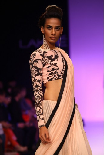 PS-FW198 Mashal Blush and Black Ottoman Print Choli with Mul Lehenga Saree