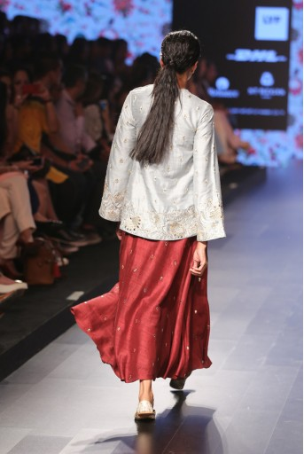 PS-FW388 Masum Powder Blue Dupion Silk Tunic With Pomegranate Dupion Silk Calf Length Skirt