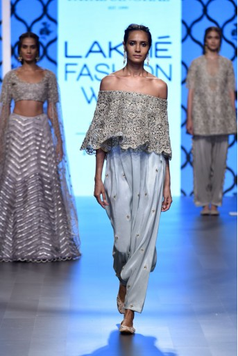 PS-FW498 Masuma Powder Blue Silk Off Shoulder Cape and Low Crotch Pant