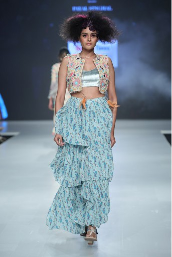 PS-FW681 Meesha Stone Georgette Short Jacket with Perwinkle Blue Velvet Bustier and Blue Printed Georgette Layered Sharara