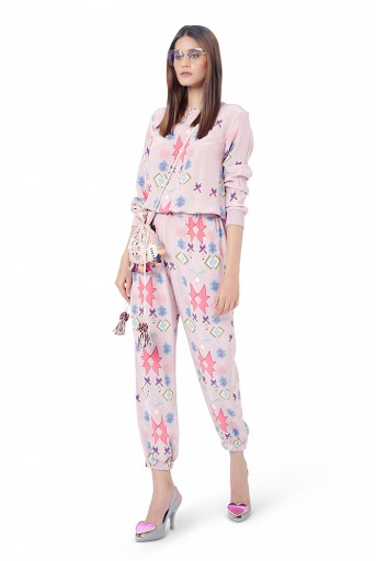 PS-FW787  Meher Pink Printed Crepe Top with Jogger Pant