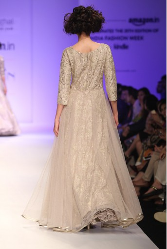 PS-FW346 Melina Stone Dupion Silk Gown with Mukaish Net Skirt