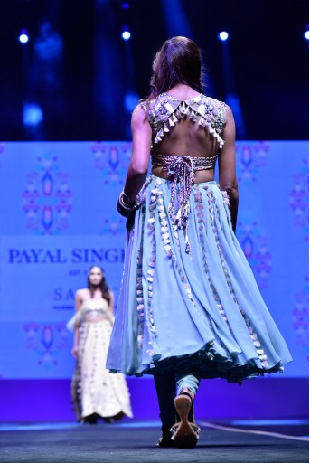PS-FW604 Meriha Periwinkle Blue Georgette Tie-Up Choli with Godet Lehenga and attached Soft Net Churidar
