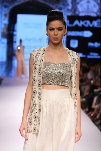 PS-FW314 Minar Ivory Dupion Silk Jacket with Choli and Low Crotch Pant