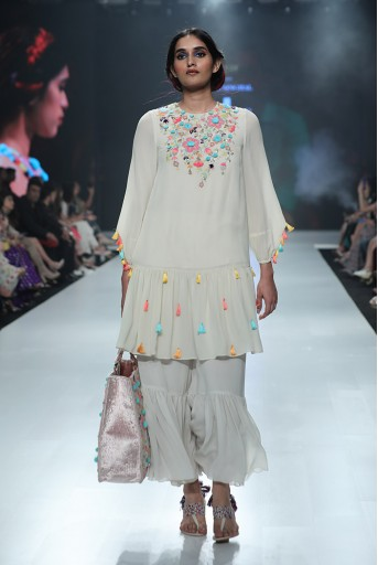 PS-FW682 Minoo Chalk White Georgette Frill Kurta with Frill Palazzo