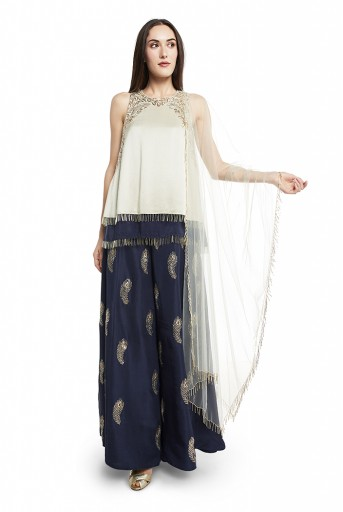 PS-ST0985-B  Mint and Navy Colour Silk Short Kurta with Navy Colour Silk Palazzo and Mint Colour Net Duaptta