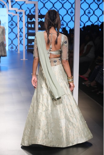PS-FW489-2  Mint Colour Brocade Choli and Lehenga with Attached Mukaish Georgette Drape