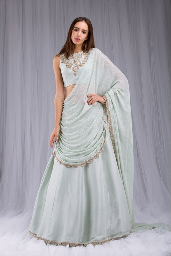 PS-ST0993-2  Mint Colour Silk choli and lehenga with Attached Mukaish Georgette Drape