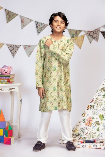 PS-KB0002 Mint Printed Silk Kurta with Off white Cotton Silk Churidar