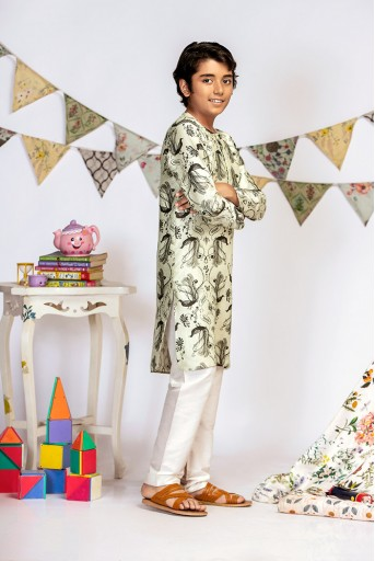 PS-KB0006 Mint Printed Silk Kurta with Off white Cotton Silk Churidar