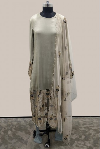 PS-FW487-A-1 Mint Silk and Stone Organza Kurta with Mint Soft Net Churidar and Stone Net Dupatta