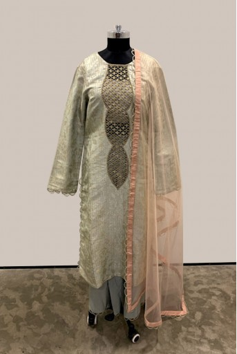 PS-FW477-J-1 Mint Silk Brocade Kurta with Silk Palazzo and Bustier with Blush Net Dupatta