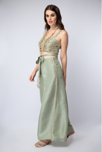 PS-ST1107-C Mint Silk Tie-Up Choli and Palazzo Pants with Blush Net Dupatta