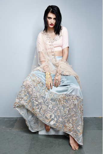 PS-FW270 Mira Blush Silkmul Choli with Ice Blue Skirt and Blush Tulle Dupatta
